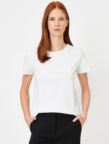 Koton Bisiklet Yaka Basic T-Shirt Ekru